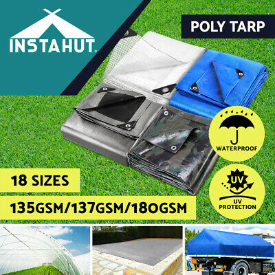 Heavy Duty Poly Tarps 180gsm PE Tarpaulin Camping Cover UV Rot Proof  Multi-Size