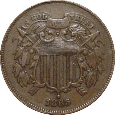 1865 Shield Two Cent--Sharp AU--Late Die State