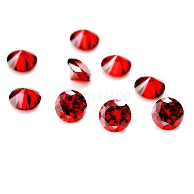 RED Cubic Zirconia Garnet Loose Stones Crystal CZ Round Brilliant bead round gem