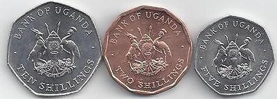 3 UNCIRCULATED COINS from UGANDA - 2, 5 & 10 SHILLINGS (ALL DATING 1987)