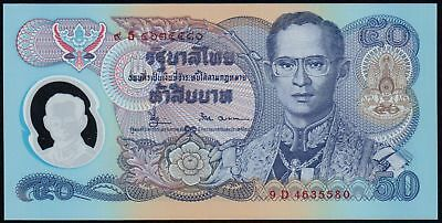 1996 THAILAND 50 BAHT BANKNOTE * UNC * P-99 * POLYMER * 50th Anniversary