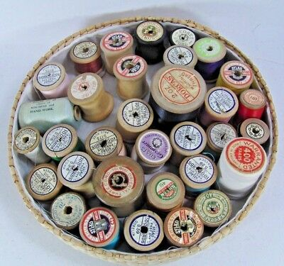 Job Lot of Vintage Cotton Thread on Wooden Reels Mainly Sylko