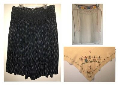 ViNTAGE 1930's CZECH SKIRT Slovak FOLK COSTUME Bohemia SMOCKING Black Stars L
