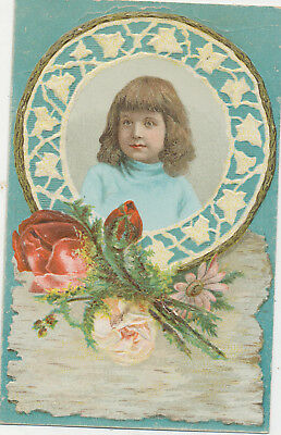 C8708   Victorian Trade Card  Lions Coffee Girl W/ Rose