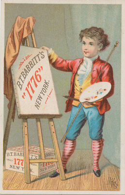 C8692   Victorian Trade Card Soap Babbitts  Boy Artist Painting
