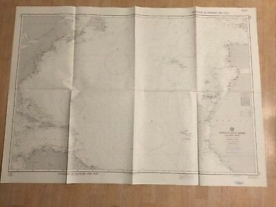 Nautical Chart North Atlantic Ocean Southern Sheet Vintage Maritime Map 4589