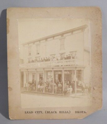 1880s Photograph GOLD MINERS at Campbell House HOTEL  Lead City Dakota Terr