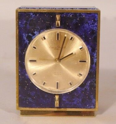 Vintage SUIZA SHEFFIELD Swiss 8 Day Alarm Clock Faux Lapis & Brass WORKING ORDER