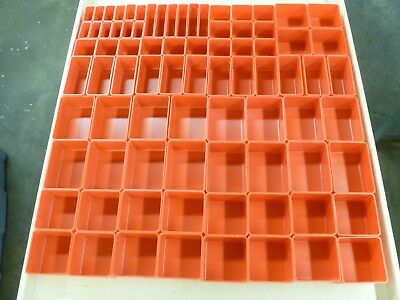 "233 PC RED PLASTIC BOX ASSORTMENT . 2"" DEEP (18) SIZES Lista vidmar organizers"