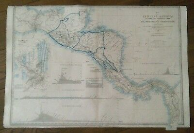 Map of Central America Shewing the Different Lines, 1860, James Wyld, Original