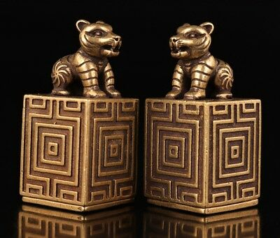 2 China's pair bronze statue figurine stamps seal old tigers value