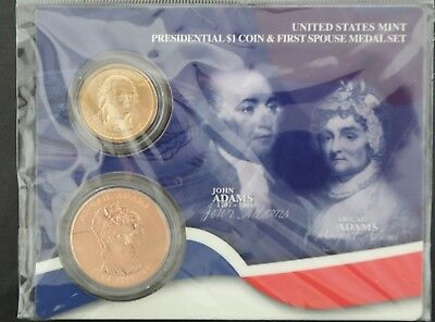 United States Mint Presidential $1 Coin & First Spouse Medal Set - Adams