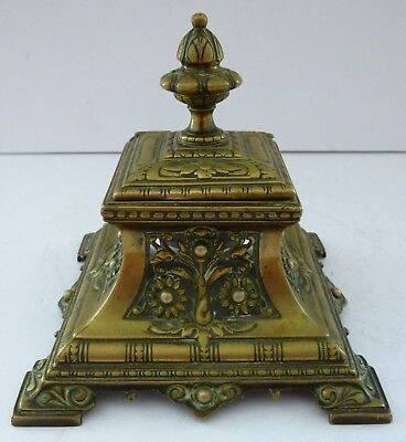 Antique Brass French Rococo MC CM Ink Well Desk Top Item Flowers Registered Rare