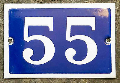 Old used French house number 55 door gate plate plaque enamel steel metal sign