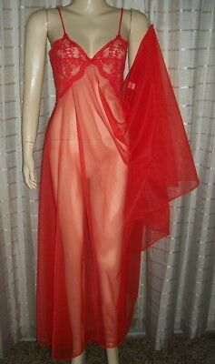"""Frederick's Sexxy Red Sissy Sheer 200"""" Sweep Peignoir Nightgown Robe 32-34 Bust"""