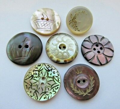 Wonderful Lot of 7 Antique Victorian Carved MOP Shell BUTTONS Dyed Incised+ (M1)