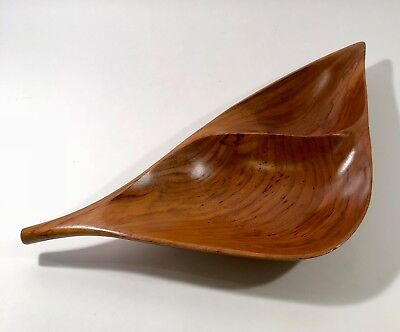 EMIL MILAN Carved Wood Two Part Walnut Leaf Bowl  Mid Century Eames Era