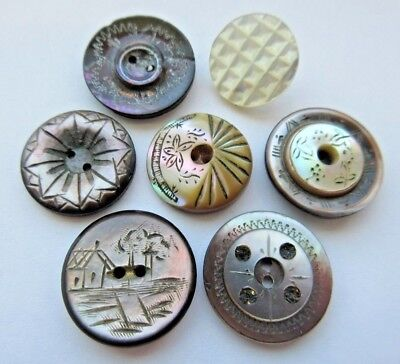 Excellent Lot of 7 Antique~ Vtg Carved MOP Shell BUTTONS Dyed Incised+ (M3)