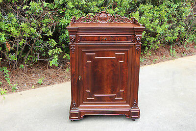 Fine Walnut Victorian Credenza Cabinet with Carved Gallery ~ Ca.1870