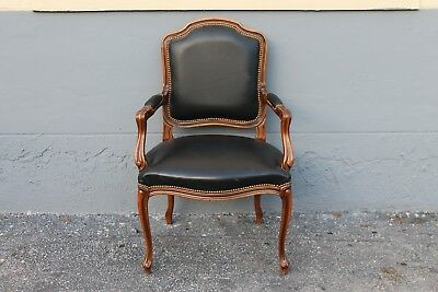"VINTAGE 1950""s CARVED WALNUT ARMCHAIR/ BLACK VINYL UPHOLSTERY - French style"