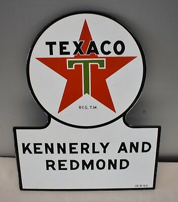 Rare NOS MINT Texaco Porcelain Sign Kennerly and Redmond Asheville, NC 10-9-53