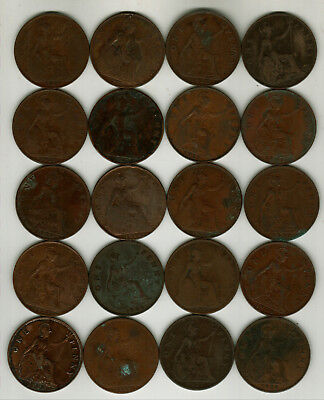 20 Old  Mixed Date British Large Pennies