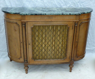 Antique Regency style Marble top CREDENZA / SIDE CABINET Brass grill curtained