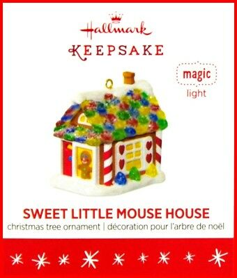 2016 Hallmark Sweet Little Mouse House Mini Gingerbread House Ornament Wth Light