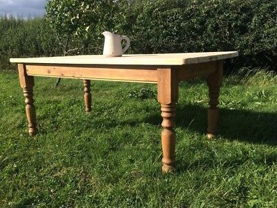 Large 6 or 8 Seat Antique Pine Farmhouse Kitchen Dining Table