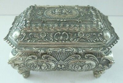Silver Plate Neoclassical French Rose Leaf Flower Trinket Jewellery Box Rare