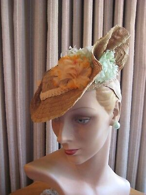 Flirty 40's Beige Straw Asymmetrical Tilt Hat W/flowers & Bows