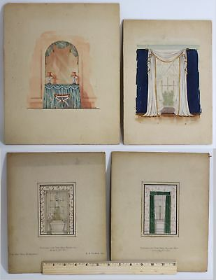 4 Antique Watercolor Paintings Victorian Interior Design Window Drapes Curtains