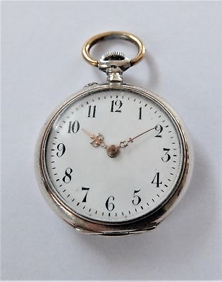 1895 Silver Cased Cylinder Pocket Watch / Fob Watch In Working Order