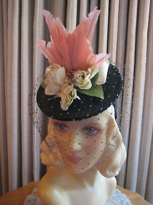 Fanciful 40's Black Straw Tilt Hat W/white Roses, Pink Bird & Veil