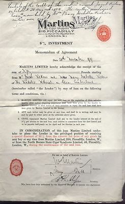 1919 MARTINS Cigar Shippers, 8% INVESTMENT Bond/Loan agreement, signed