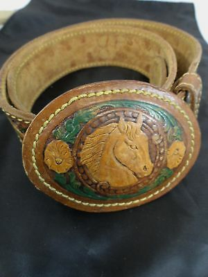Chambers Western Style Belt and Matching Buckle Leather Size38 Hand Painted(579)