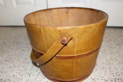 Outstanding Primitive Wooden Banded Bucket/Pail Original Dry Yellow Ochre Paint