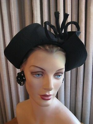Fetching 40's Black Faille Hat W/split Halo Brim & Stand Up Bow