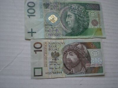 Poland National Bank 100 Zlotych And 10 Narodowy Bank Polski Nbp Lot Of 2 Notes