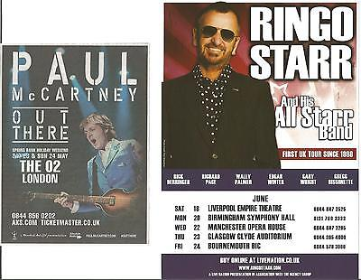 Paul McCartney  (Beatles)   Out There Tour   Promo Advert   +  Ringo Starr Flyer