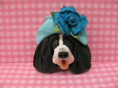 Handsculpted B/W English Springer Spaniel in Aqua Hat with Flower Lapel Pin