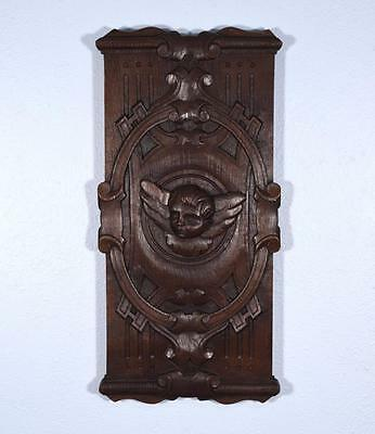 French Antique Hand Carved Art Panel with Cherub in Solid Oak Wood