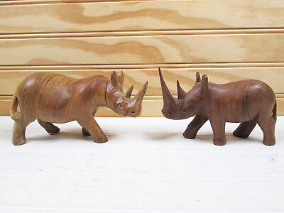 2 Vintage Wooden Rhino Figurines Set African Hand Carved Wood Rhinoceros Lot