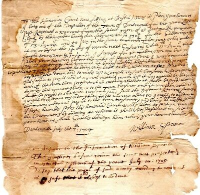 1705, Dartmouth, Mass; William Spooner signed petition, who gets the tax money?