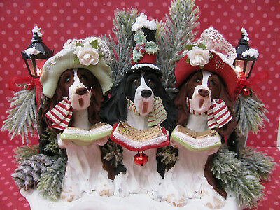 Handsculpted English Springer Spaniel 3 Christmas Carolers Figurine-LIGHTS UP!!!