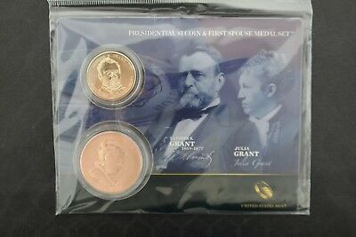 United States Mint Presidential $1 Coin & First Spouse Medal Set - Grant