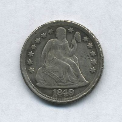 1849 U.S. Seated Liberty One Dime, BACK ROTATED ABOUT 180 DEGREES - Strange