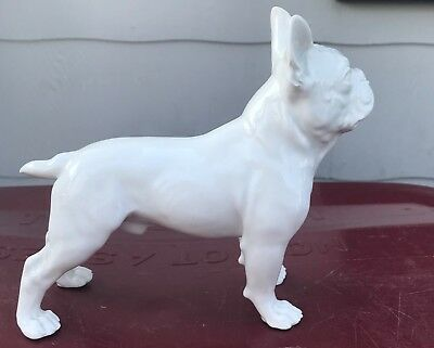 Standing Meissen French Bulldog / Boston Terrier Dog Figurine ~ white ~ Germany