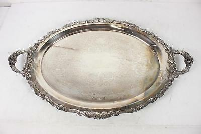 Vintage Silver Plated Footed Handled Wallace Baroque Butler Serving Tray Platter