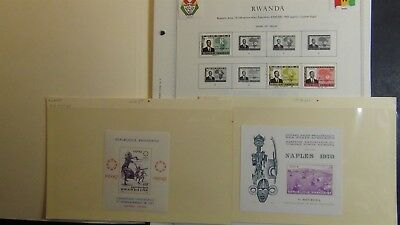 Rwanda stamp collection on Minkus album pages to '91 w/ 500 stamps or so